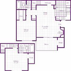 The Crossing Floor Plan at The Wilson Crossing Apartments in Cedar Hill, TX