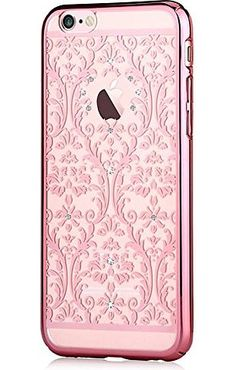 Iphone 6 4.7 & Iphone 6s,devia® Crystal Baroque Series Unique & Fashion Gradient Design Decorated with Original Swarovski Element Hard Transparent Case for Iphone 6 4.7 & Iphone 6s (Rose Gold Baroque)