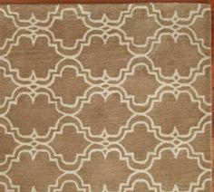 New 8 x10 Pottery barn Scroll Tile Mocha Persian Style Handmade Wool Area Rugs Carpet Sale | eBay