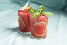 Watermelon and strawberry slushies.