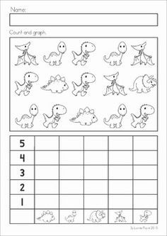 Dinosaur Preschool Math and Literacy No Prep worksheets and activities. A page from the unit: count and graph Dinosaur Worksheets, Dinosaur Theme Preschool, Dinosaur Activities, Preschool Worksheets, Preschool Lessons, Preschool Kindergarten, Preschool Learning, Preschool Activities, Dinosaur Projects