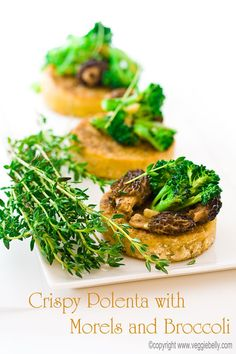 Crispy Polenta with Morel Mushrooms and Broccoli