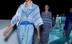 Scene setting: Faceted forms placed on the show space floor were an expression of Issey Miyake creative director Yoshiyuki Miyamae's geometric mindset. The live electronic synthesiser tunes that were playing had a similar, deliberately askew feel to th...