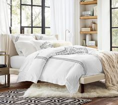 Ricki Embroidered Duvet Cover & Sham | Pottery Barn