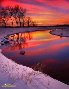 photo ... Skyscapes ... fiery sunset on snow scene ... river reflections ...