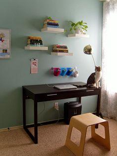 Office - desk and floating shelves by delightfullyhostile, via Flickr  The same floating shelves for the cat re used for the human. Great design!