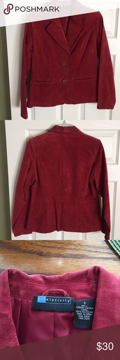 Genuine leather jacket Relativity genuine leather jacket/lined.                  Burnt red color (wine)   Gently worn relativity Jackets & Coats Blazers