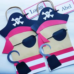 Items similar to Pirate Favor Bag/Pirate Party/Goodie Bag/Treat Bag on Etsy Pirate Decor, Pirate Crafts, Pirate Theme, Pirate Day, Pirate Birthday, Mermaid Birthday, Pirate Party Favors, Kids Party Themes, Party Ideas