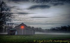 Barn with foggy backdrop, Lakefield Road, Freemont Township, Saginaw County, Michigan