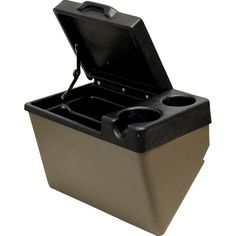 JD 50 Series Field Office - Quality pre-cut field office will help make the inside of your John Deere 50 Series tractor cab look like new and give you a place to store your cell phone, tablet, beverage, and more. This piece mounts to the left-hand fender.  #tractor #deere #kmmanufacturing