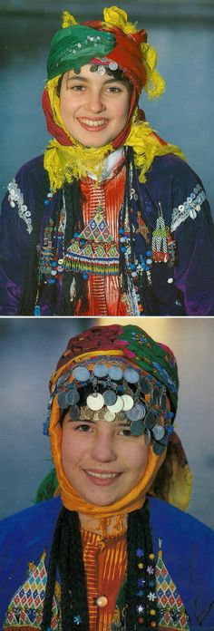 Traditional festive headgear and beadwork 'jewelry' from Türkmen villages in the Dinar district (Afyon province), e.g. in the valley of Çölovası.  Ca. 1995.  (Archives of Kavak/Antwerpen).