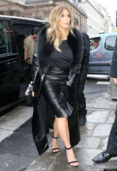 Kim Kardashian knows how to rock leather and all black everything! (shop perfect leather garments at www.bluegold.nl)