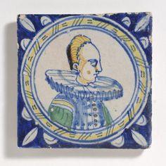 portrait tile wih woman 1610 ca.