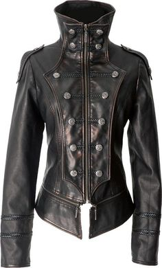Gothic leather-look uniform jacket by Punk Rave