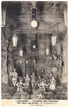 Inside the Cabaret des Truands located in Paris France at 100 Boulevard de Clichy, circa early 1900's.