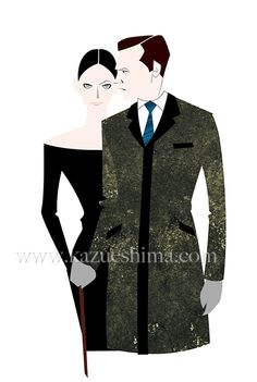 Fashion illustration by Kazue Shima. Mens winter coat. (Material: water color, pencil, photoshop)