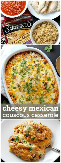 Cheesy Mexican Couscous Casserole -- the cheesiest, most flavorful Mexican chicken casserole, and so easy to make, too! girlversusdough.com @girlversusdough