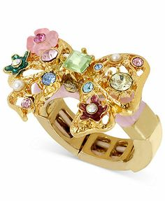 Betsey Johnson Antique Gold-Tone Bow Stretch Ring