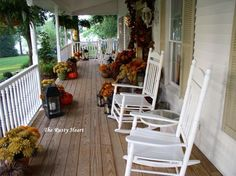 Rusty Heart Designs: Fall Front Porch  One day, I will have a porch like this