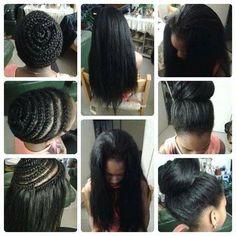 American and African Hair Braiding : Crochets Braids avec les nattes de tissage - Beauty Haircut Crochet Braids Hairstyles, African Braids Hairstyles, Weave Hairstyles, Pretty Hairstyles, Girl Hairstyles, Black Hairstyles, Natural Hairstyles, Crochet Straight Hair, Crochets Braids