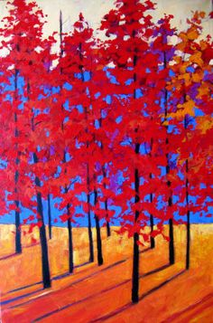 Red Trees - acrylic by ©Patty Baker (via ArtistRising)