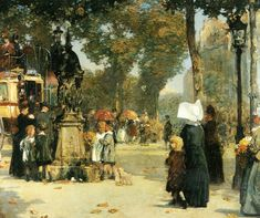 Paris Street Scene, 1887 by Childe Hassam, (American 1859-1935)