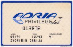 SLOVENIA ADRIA Airways  Airlines Privilege Club card  Frequent flyer airways