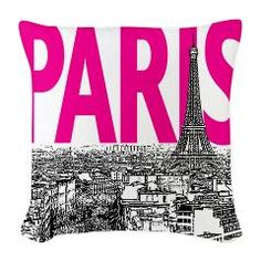Paris Pop Art (Pink) Burlap Throw Pillow > Throw Pillows > Paris by DESIGN