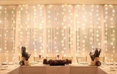 fairy lights - perfect backdrop for the head table and you could even do two of these walls, the other could be the opposite wall, if you have a tent for the reception