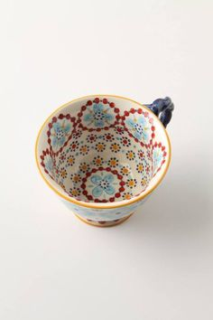 The inside is so festive! Makes drinking tea more fun! With A Twist Teacup - and even more pretty cups from Anthropologie! Design My Room, Pottery Painting, Dot Painting, Ceramic Painting, Mug Cup, Coffee Cup, Drinking Tea, Ceramic Pottery, Stoneware