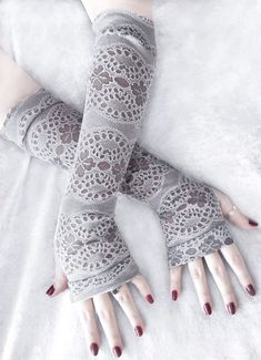 Nuala Arm Warmers  Light Dove Grey & White Floral Burnout by ZenAndCoffee
