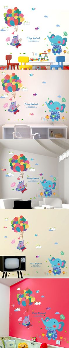 Removable Elephant Balloon Wall Stickers PVC Material Creative Wall Art DIY Animal Home Decor Decals for Kids Bedroom Decoration