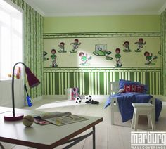 Soccer or football is such a great theme for a boys bedroom. This green soccer theme wallpaper mural is the perfect way to inspire your child to stay fit. Nursery Wallpaper, Kids Wallpaper, Soccer Theme, Girl Room, Kids Bedroom, Kids Rugs, Furniture, Design, Home Decor