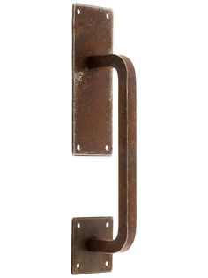 Steel Vertical Cabinet Pull with Backplates In Distressed Rust Finish | House of Antique Hardware