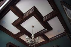Coffered ceiling with color