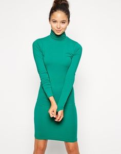 Shop for Jersey Turtleneck Dress - Evergreen by American Apparel at ShopStyle. Bright Spring, Asos Online Shopping, Latest Fashion Clothes, American Apparel, Turtleneck Dress, Casual Dresses, Women Wear, High Neck Dress, Turtle Neck