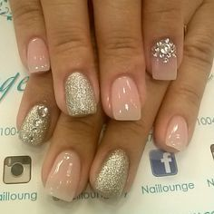 Natural Soft pink nails with silver sparkling accents and rhinestones