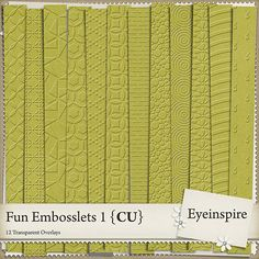 Set of 12 assorted, totally transparent, beautifully, embossed patterns to give your papers and elements depth! For added fun, try these on your frames, flowers and other embellishments! <br />Instructions are included but half the fun is playing to see what you come up with.