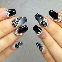 Nails for Madison's birthday🎂, using the awesome! 🤐Secret Star gel from 💅🏻 Black,white and grey ombré, hand painted Nailart and Swarovski crystals💎. New Year's Nails, Love Nails, Fun Nails, Hair And Nails, Manicure Nail Designs, Cool Nail Designs, Manicure And Pedicure, Shellac Nails, Acrylic Nails