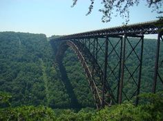 New River Gorge Bridge in West Virginia...5th tallest vehicular bridge in the world....scary tall!