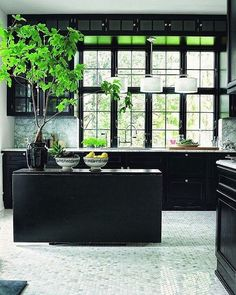 43 Dramatic black kitchens that make a bold statement - architecture and design Black Kitchen Cabinets, Black Kitchens, Kitchen Black, Swedish Kitchen, Country Kitchen, Charcoal Kitchen, Danish Kitchen, Colorful Kitchens, Inset Cabinets