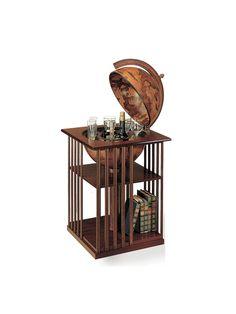 Globe Drinks Cabinet with bookshelf brown
