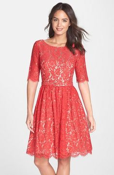 has potential.. Eliza J Belted Lace Fit & Flare Dress available at #Nordstrom