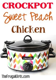 Crockpot Sweet Peach Chicken Recipe! ~ from TheFrugalGirls.com ~ you'll love this easy dinner recipe with a tasty touch of sweet! #slowcooker #recipes