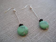 Mint Green and Black  Dangle Earrings by FamilyJules on Etsy, $9.00