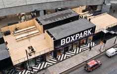 London's first Pop-Up Shipping Container Mall Opens in Shoreditch. Boxpark Shoreditch is London's first pop-up shopping mall made completely from shipping containers. Container Architecture, Container Buildings, Container Shop, Container House Design, Container Cabin, Container Garden, Contemporary Architecture, Architecture Design, Landscape Architecture