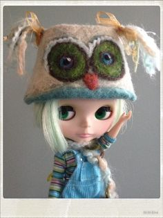 Needle Felted Owl Animal Parade Helmet for Blythe, Pullips and other dollies | eBay