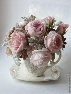 """Кофе-букет """"Розовый шоколад"""" (полимерная глина). Handmade."""