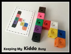 Snap Cubes WITH Pattern Cards - Preschool - Kindergarten - Busy Bag - Centers - Travel Games by KeepingMyKiddoBusy on Etsy https://www.etsy.com/listing/233938498/snap-cubes-with-pattern-cards-preschool