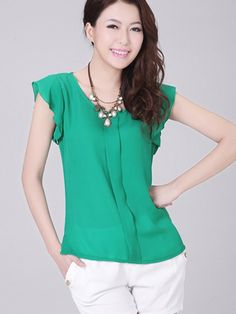 Flouncing Sleeve Pleated Front Chiffon Blouse